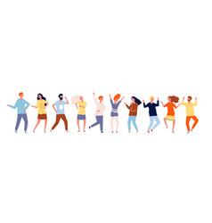 dancing people characters crowd party dancing vector image