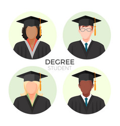 Degree student faceless avatars males and female vector