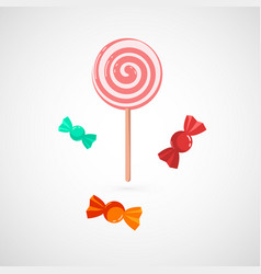 Delicious pink lollypop and sweet vector