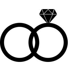 diamond engagement ring black gem icon vector image