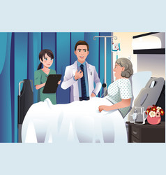 doctor and nurse talking to a patient at the vector image