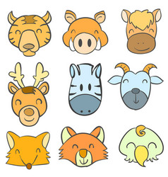 doodle of animal funny head style vector image