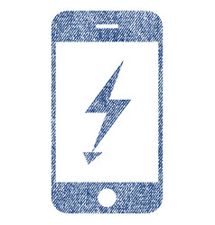 Electric mobile phone fabric textured icon vector