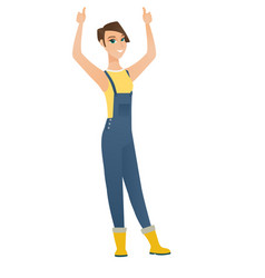 Farmer standing with raised arms up vector