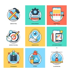 Flat Color Line Design Concepts Icons 23 vector