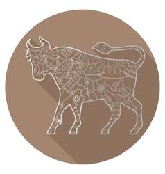 Flat icon of zodiac sign Taurus vector image