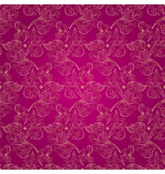 Floral vintage seamless pattern on pink background vector image