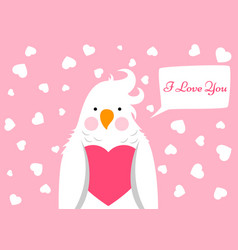 funny cute cartoon parrot love valentinesday vector image