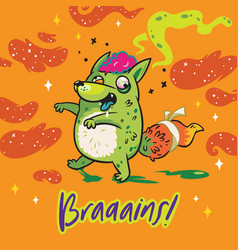 funny print with fox zombie for halloween vector image