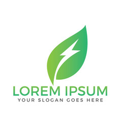 green leaf flash logo vector image
