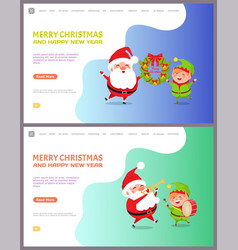 greeting card with santa claus and elf web poster vector image
