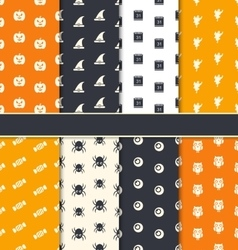 Group Seamless Patterns for Happy Halloween vector image