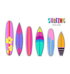 hand drawn set of surfboards vector image
