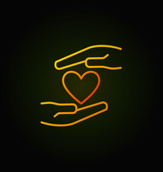 hands with heart colored outline icon vector image