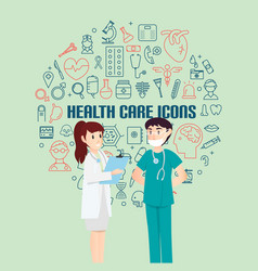 health care icons for medical with infographic vector image