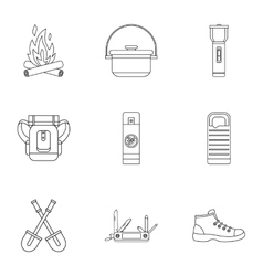 Hike icons set outline style vector