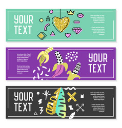 Horizontal banners set with gold glitter geometric vector