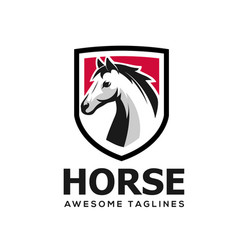 horse head with shield simple logo vector image