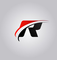 Initial r letter logo with swoosh colored red and vector