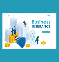 isometric businessmen insure their assets vector image