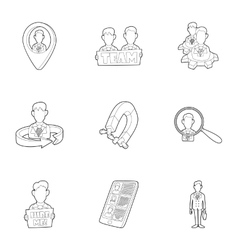 Job search icons set outline style vector