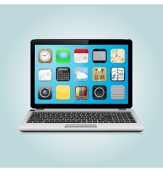 Laptop with app icons vector image