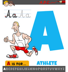 Letter a worksheet with cartoon athlete vector