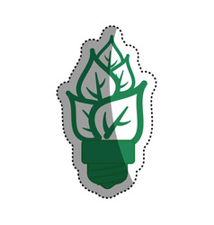 light bulb eco leaves vector image