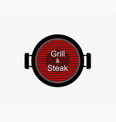 logo grill and steak on blank background template vector image