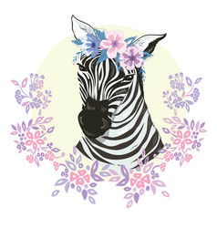 logo with the head of a zebra flat zebra portrait vector image