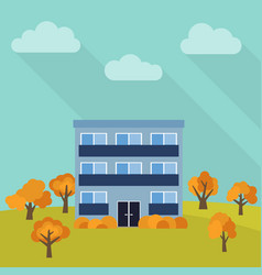 lone three-storey house in a field vector image