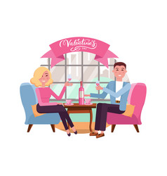 man and woman in restaurant on romantic date vector image