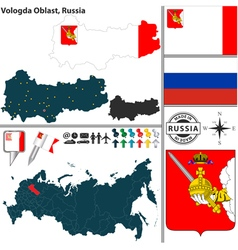 Map of Oblast of Vologda vector