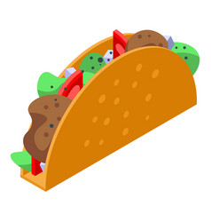 Mexican tacos icon isometric style vector