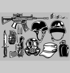 Military objects set vector