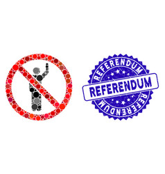 Mosaic no hitchhike icon with textured referendum vector