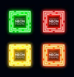 neon light square set shining rectangle frame vector image