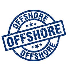 offshore blue round grunge stamp vector image