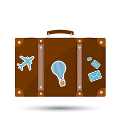 Old fashioned suitcase for travel vector