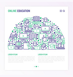 online education concept in half circle vector image