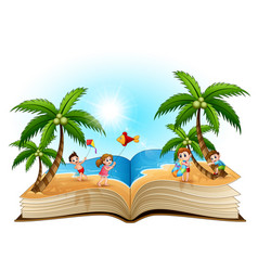 open book with group of happy children playing on vector image