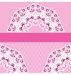 Pink border lace frame background vector