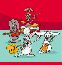 rabbits rock musicians band cartoon vector image