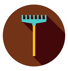 Rake Garden Tool Circle Icon vector image