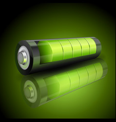 realistic 3d green battery charging status vector image