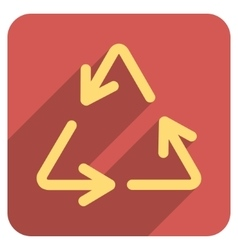 Recycle Arrows Flat Rounded Square Icon with Long vector image