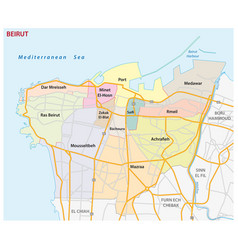 road and administrative map beirut vector image