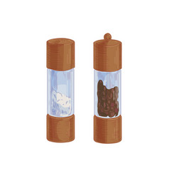Salt shaker and black pepper mill or grinder from vector