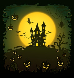 Scary house Halloween background vector