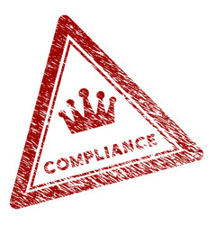 Scratched textured compliance triangle stamp seal vector
